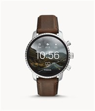 Fosil Men's Gen 4 Explorist HR Heart Rate Stainless Steel and Leather Touchscreen Smartwatch, Color: